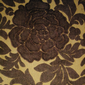 Intermezzo Allegro - Bruna - Chocolate brown and caramel coloured floral and leaf patterned polyester and viscose blend fabric with textured