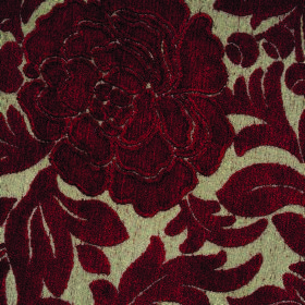 Intermezzo Allegro - Rossa - Stone coloured polyester and viscose blend fabric patterned with leaves and textured florals in deep burgundy