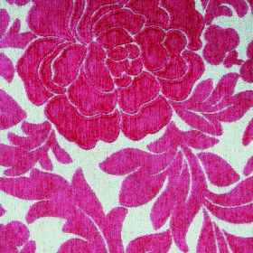 Intermezzo Allegro - Cerise - Polyester-viscose blend fabric with a pattern of leaves and large textured florals in chalk white and strawber