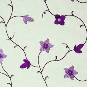 Jasmine - Violet - Flowers & leaves in light and dark purple with dark grey swirling stems on off-white fabric containing various materials