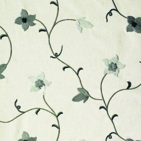 Jasmine - Mist - Various shades of grey making up a small floral pattern on polyester, linen and cotton blend fabric in an off-white colour