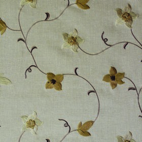 Jasmine - Truffle - Pale grey polyester, linen and cotton blend fabric, patterned with small cream and gold coloured flowers and brown vines