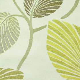 Kew Palm - Mimosa - Striped leaf designs and stems, all in various shades of green, on a white polyester and cotton blend fabric background
