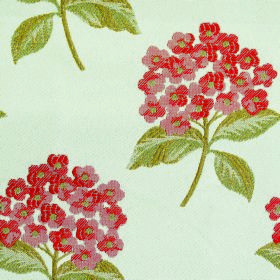 Kew Flora - Paprika - Dusky red and grass green coloured flowers and leaves grouped on fabric containing polyester and cotton in white