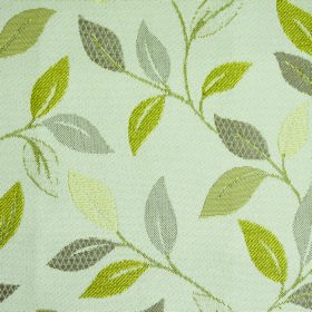 Kew Leaf - Mimosa - Simple leaves and stems in various shades of green, with some cream and light grey, on off-white polyester-cotton fabric