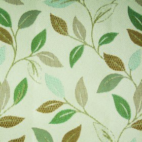 Kew Leaf - Aqua - Off-white fabric made from polyester and cotton, with a simple leaf pattern in various different shades of green & beige