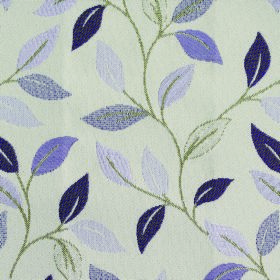 Kew Leaf - Voilet - Leaves in four rich shades of purple patterning chalk white coloured fabric made from a mixture of polyester and cotton