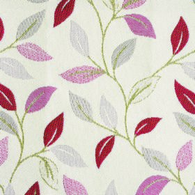Kew Leaf - Cerise - Red and grey in various shades making up a simple leaf pattern with green stems on white polyester-cotton blend fabric