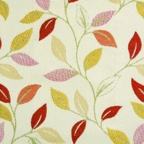 Kew Leaf - Paprika - Leaf patterned fabric made from polyester and cotton featuring a warm red, orange and yellow design on a cream background