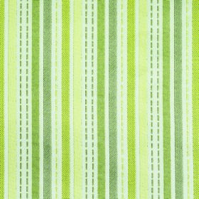 Kew Stripe - Mimosa - Solid and dotted lines in several different shades of green and cream running down white polyester and cotton blend fabr