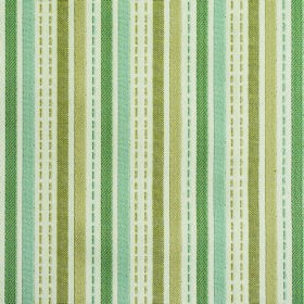 Kew Stripe - Aqua - Vertically striped fabric made from polyester and cotton in white, duck egg blue and 3 different shades of olive green