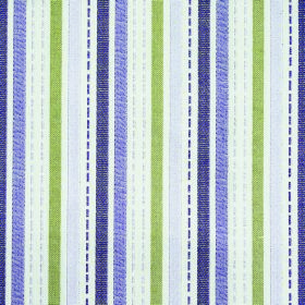 Kew Stripe - Voilet - Fabric made from vertically striped polyester and cotton in white, grass green, pale purple, rich purple and aubergine