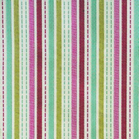 Kew Stripe - Cerise - Light blue, apple green, white and dusky shades of red and pink making up a striped design on polyester-cotton blend fabri