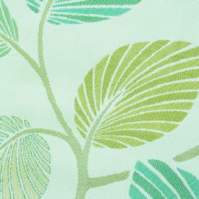 Kew Palm - Aqua - Apple green and dusky blue shades making up a striped leaf and stem design on white fabric made from polyester & cotton