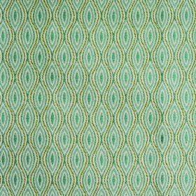Kew Bud - Aqua - Pointed ovals in dusky blues and wavy lines in light greens repeatedly printed on fabric made from polyester and cotton