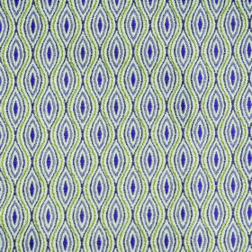 Kew Bud - Voilet - Polyester and cotton blend fabric in white, greens and purples, with a repeated pattern of wavy lines and pointed ovals