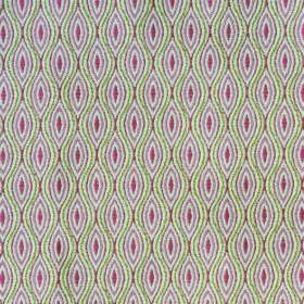 Kew Bud - Cerise - Fabric made in dusky red, light green and white from polyester and cotton, patterned with pointed ovals and wavy lines