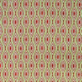 Kew Bud - Paprika - Leaf green, brick red and white polyester and cotton blend fabric with a repeated pattern of pointed ovals and wavy lines
