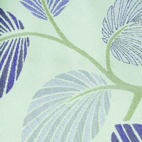 Kew Palm - Voilet - Off-white polyester-cotton blend fabric with a pattern of pale green stems and striped leaves in various shades of blue