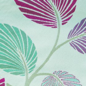 Kew Palm - Cerise - Red, dusky blue, purple-pink and pale grey stems and striped leaves patterning white polyester and cotton blend fabric