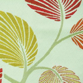 Kew Palm - Paprika - Polyester and cotton blend fabric in white with pale green-grey stems and striped leaves in warm reds, oranges and yellow