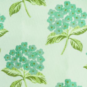 Kew Flora - Aqua - White polyester and cotton blend fabric patterned with bunches of light blue blossoms and leaves in olive green