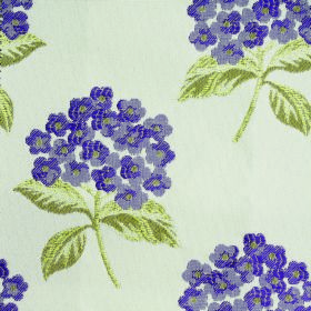 Kew Flora - Voilet - Fabric made from white polyester and cotton, with a floral pattern in olive green and two shades of Royal purple
