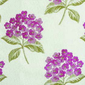 Kew Flora - Cerise - Floral patterned fabric with a polyester and cotton blend with a dark pink and grass green pattern on a white backgroun