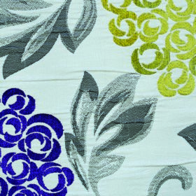 Opulence Savoy - Grape - Polyester and viscose blend fabric in white patterned with shaded grey leaves and flowers in Royal purple and lime