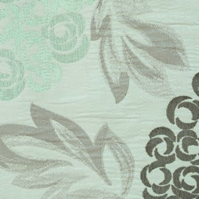 Opulence Savoy - Nut - Pale duck egg blue flowers with leaves and flowers in shades of grey on white fabric made from polyester and viscose