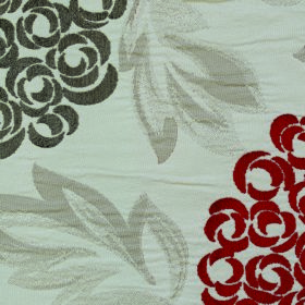 Opulence Savoy - Chilli - Fabric made from polyester and viscose in white, with burgundy and dark grey flowers and shaded light grey leaves