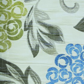 Opulence Savoy - Chambray - Groups of blue and green flowers printed with shaded iron grey leaves on fabric containing white polyester and v