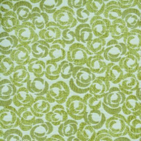 Opulence Ritz - Verde - White and leaf green coloured fabric made from polyester and viscose with a stylised rose pattern