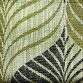 Rufford Aspen - Tan - Stylish leaves in two shades of green as well as slate covering fabric made from a combination of polyester and cotton