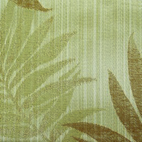 Rufford Fern - Brown - Fabric containing polyester and cotton, patterned with large leaves in two shades of green and some golden brown
