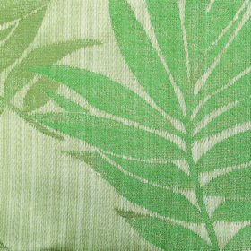Rufford Fern - Green - Several different bright shades of green making up a patchy leaf design on fabric containing polyester and cotton