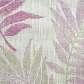Rufford Fern - Pink - Fabric made from polyester and cotton in a very pale shade of grey, with large leaves patchily printed in grey and pin
