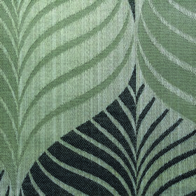 Rufford Aspen - Grey - Stylish leaf patterned polyester and cotton blend fabric in slate grey and two pale shades of dusky green-grey