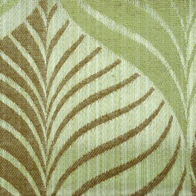 Rufford Aspen - Brown - Fabric blended from polyester and cotton in rusty brown and 2 light shades of green, covered with a stylish leaf pat
