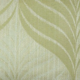 Rufford Aspen - Beige - Cream and very pale green leaves covering off-white fabric made from polyester and cotton with a stylish pattern