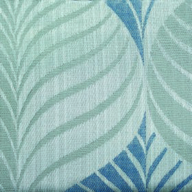 Rufford Aspen - Blue - Three different shades of blue making up a polyester and cotton blend fabric with a stylish leaf pattern