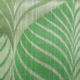 Rufford Aspen - Green - Polyester and cotton blend fabric with a large, repeated, stylish leaf pattern in three different shades of green