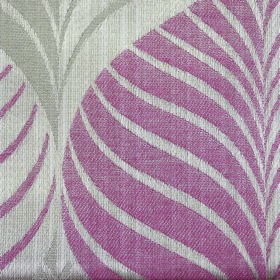 Rufford Aspen - Pink - Fabric made from polyester and cotton in dusky red and two light shades of grey with a stylish pattern of striped lea