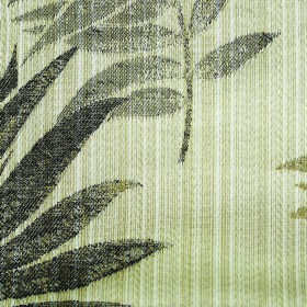 Rufford Fern - Tan - Olive green, slate grey and iron grey leaves patchily printed on a light green polyester and cotton blend fabric background