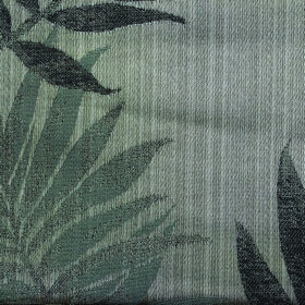 Rufford Fern - Grey - Large leaves printed on polyester and cotton blend fabric in a pattern featuring several different dark shades of grey