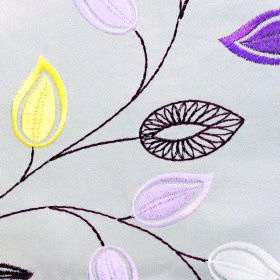 Serenity Leaf - Grey - Fun leaf shapes in shades of purple, yellow, white and dark purple-black embroidered on off-white 100% polyester fabr