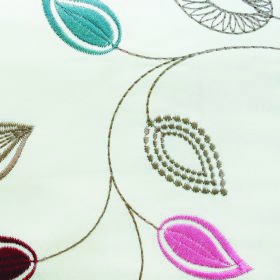 Serenity Leaf - Pink - Dotted and patterned leaves in pink, blue, burgundy, grey and green-beige on white fabric made entirely from polyeste