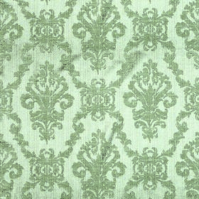 Symphony Emocion - Eau de-Nil - Repeated ornate green-grey patterns printed on polyester and cotton blend fabric in such a very pale shade o