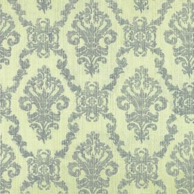 Symphony Emocion - Peyote - Steel grey and pale yellow coloured polyester and cotton blend fabric patterned with repeated, ornate designs