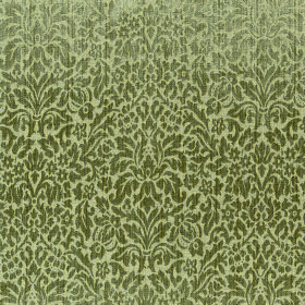 Symphony Apetito - Gold - Tiny, ornate patterns of leaves and other shapes in olive green covering pale green polyester and cotton blend fab